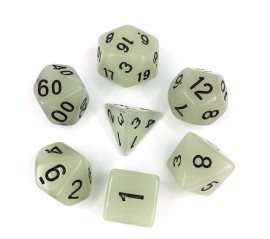 Glow in the dark  White  dice set