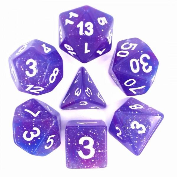 (Blue + Purple) Galaxy dice set