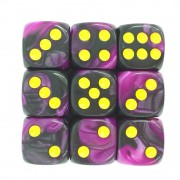(Purple+Black) 12mm D6 pips dice