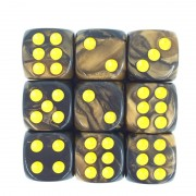 (Golden+Black) 12mm D6 pips dice