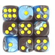 (Blue+Black) 12mm D6 pips dice