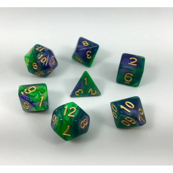 (Green+purple)Blend color dice set