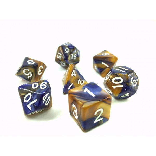 ( Dark blue+ Gold) Blend color dice set