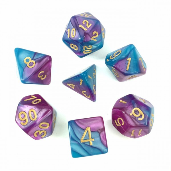 (Blue+Bright purple) Blend color dice set