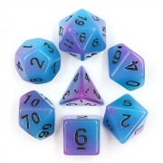 Purple and blue Glow in the dark  dice set