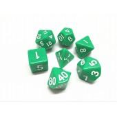 Green opaque dice set