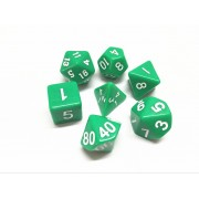 Green opaque dice set