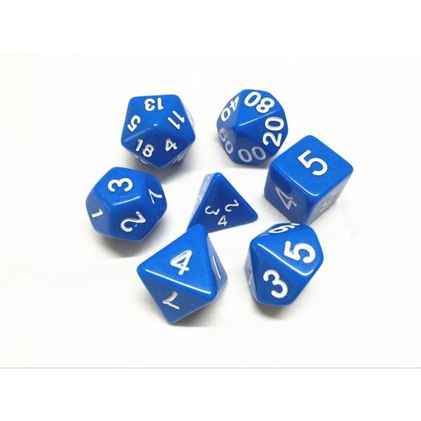 Blue opaque dice set