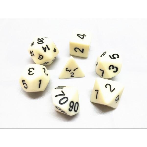 Ivory opaque dice set