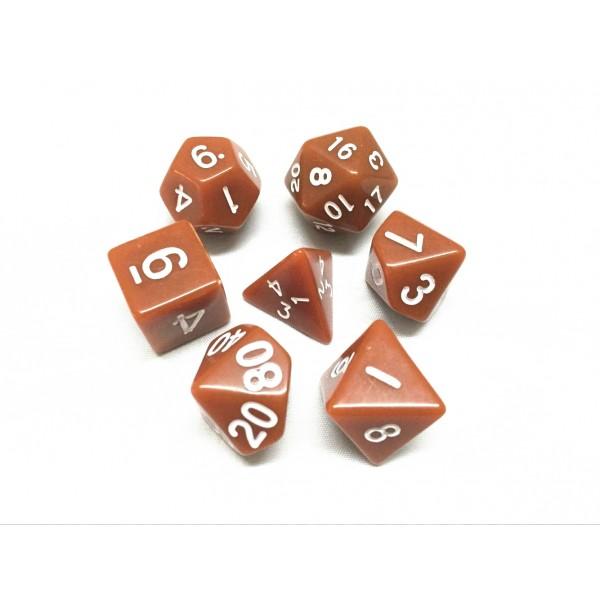 Brown opaque dice set