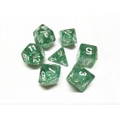 Green glitter dice set