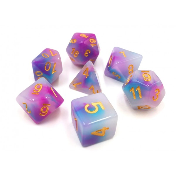 (blue+purple) Jade dice set