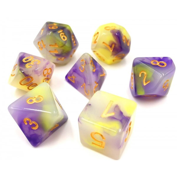 (Yellow+Purple) Jade dice set