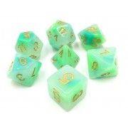 (Blue+Green) Jade dice set