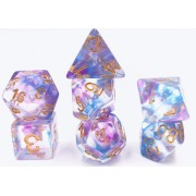 (Blue+Purple) Pearl Swirl dice set