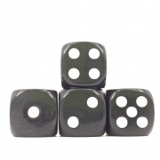 (Black Opaque) 16mm D6 Pips dice