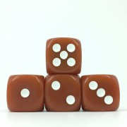 (Brown Opaque) 16mm D6 Pips dice