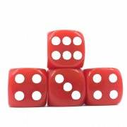 (Red Opaque)16mm D6  Pips dice