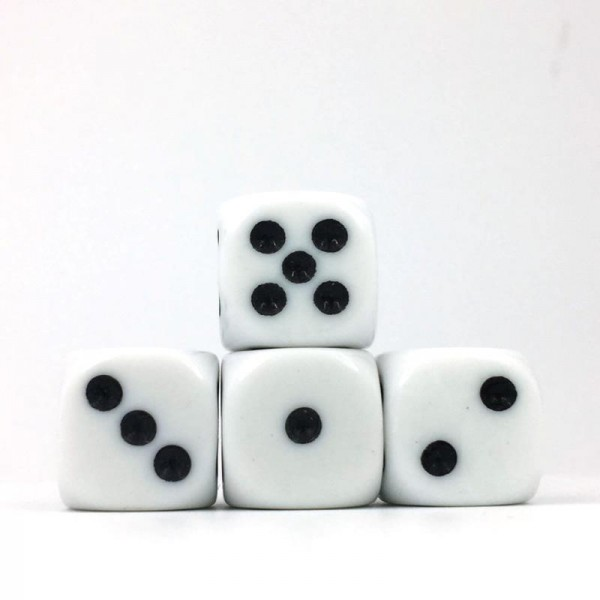 (White Opaque) 16mm D6 Pips dice