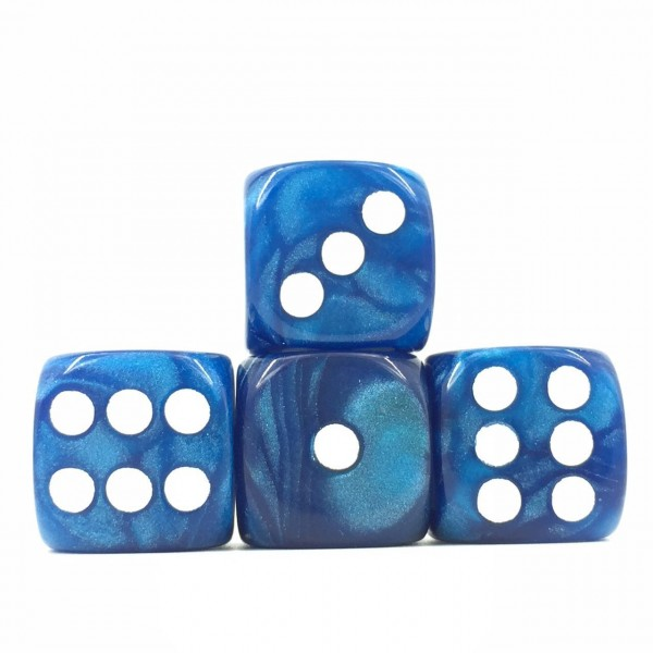 (Blue Pearl)16mm D6  Pips dice