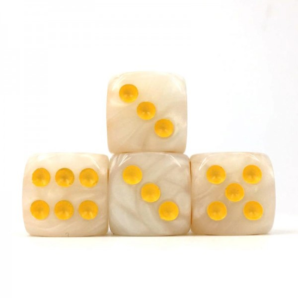 (White Pearl)16mm D6  Pips dice