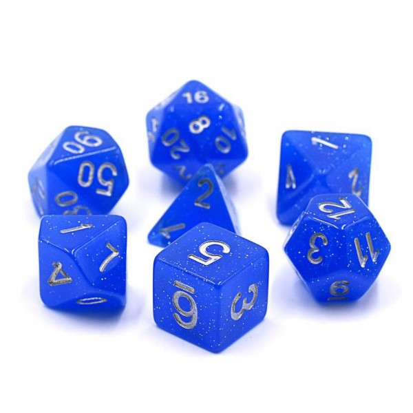 Deep Blue Translucent Glitter Dice Set