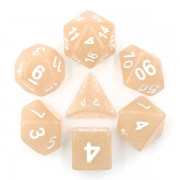 Beige Translucent Glitter Dice Set