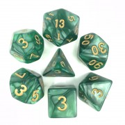 Green (Golden font) pearl dice set