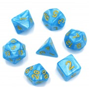 Light Blue Pearl Color Dice Set (Yellow Font)