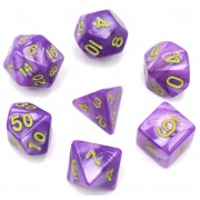Light Purple Pearl Color Dice Set(Green Font)
