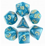 Lake Blue (Golden font) pearl dice set