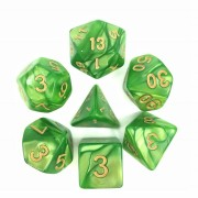 Light Green (Golden font) pearl dice set