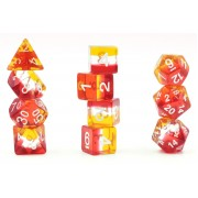 Transparent Red yellow dice