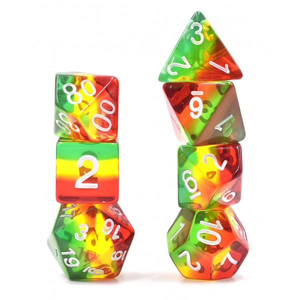 7 pcs(Red+Yellow+Green) dice set