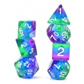 7 pcs (blue+purple+green) dice set